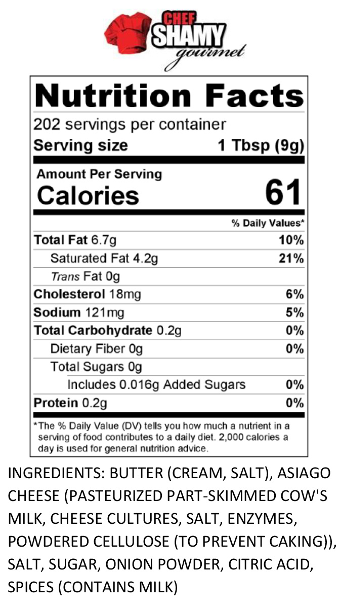 French Onion Butter Nutrition Info