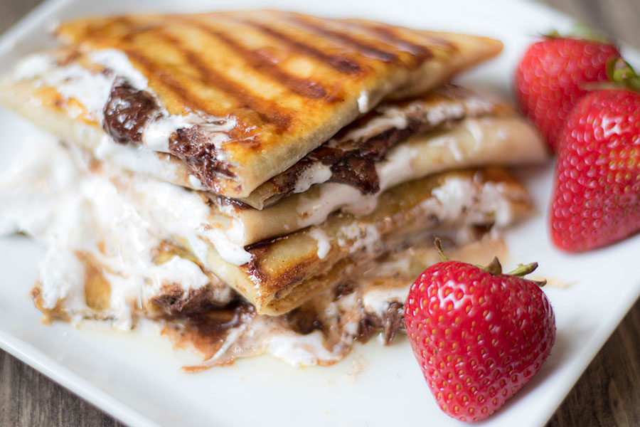 Enjoy the classic smores you love in a slightly less messy way with a smore quesadilla.