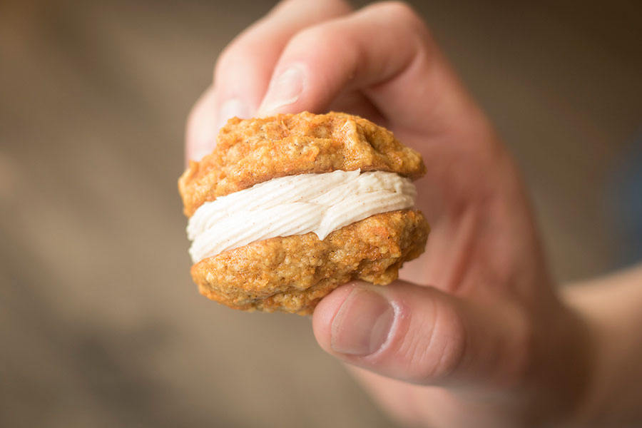 Get your cinnamon honey butter fix with these Cinnamon Carrot Cake Sandwich Cookies.