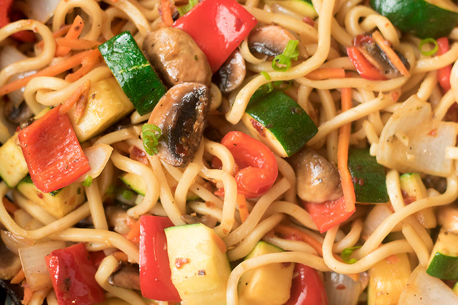 Vegetable Lo Mein with Garlic and Ginger