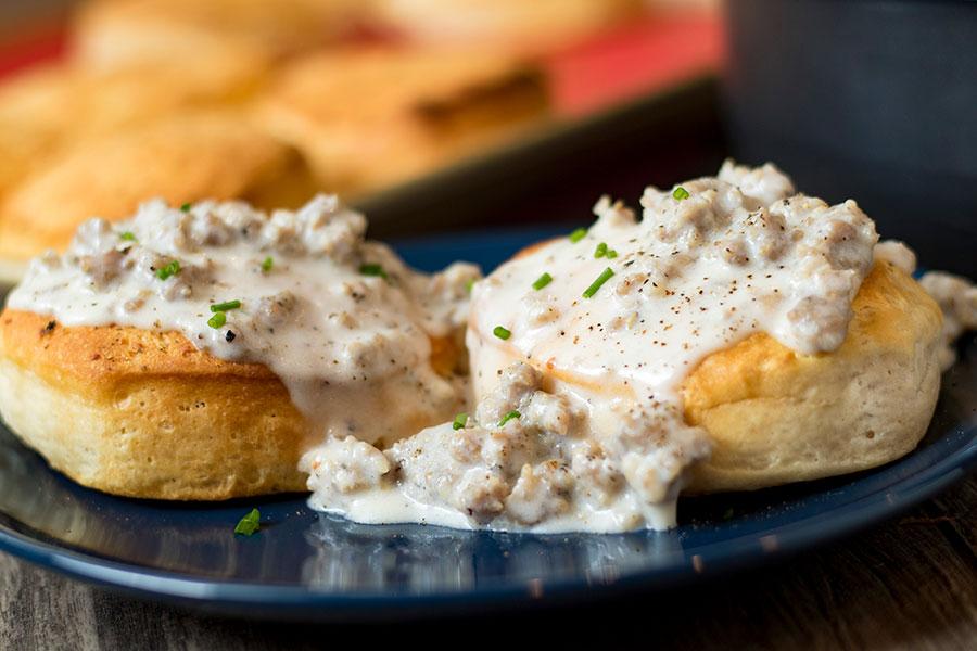 Garlic Biscuits and Gravy
