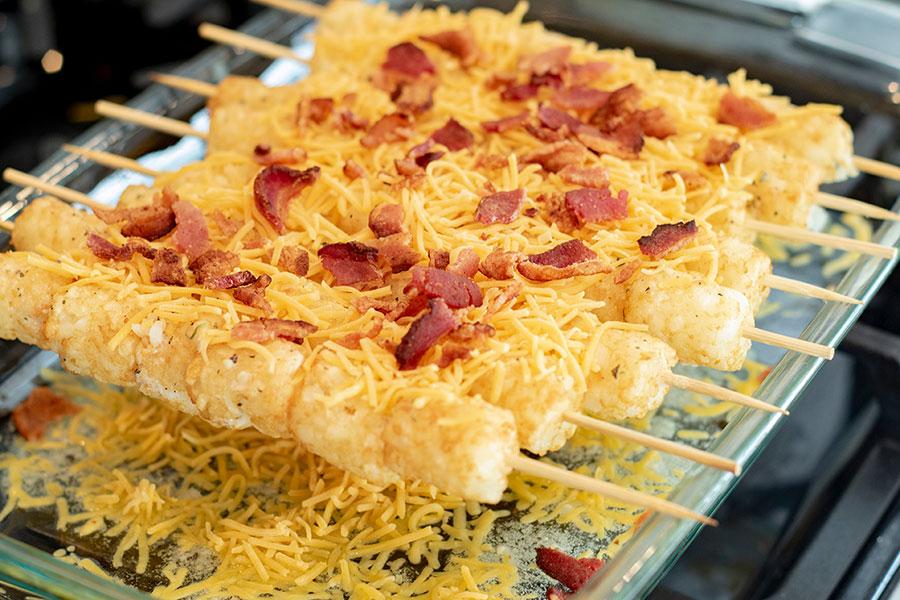 Cheesy Tater Tot Kebabs