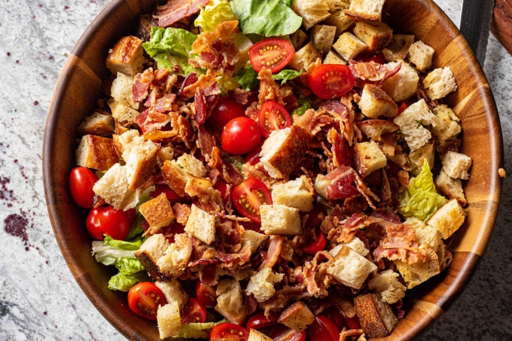 BLT Salad with Homemade Garlic Croutons