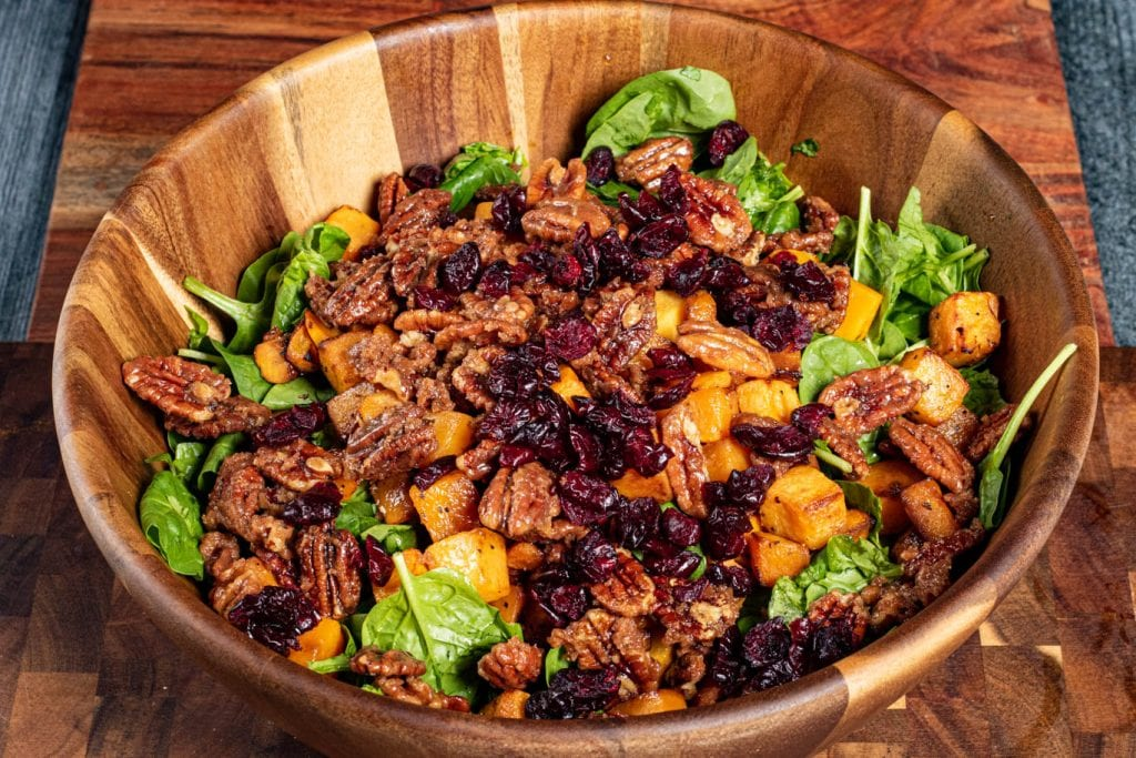 Roasted Butternut Squash Salad with Pecans and Cranberries